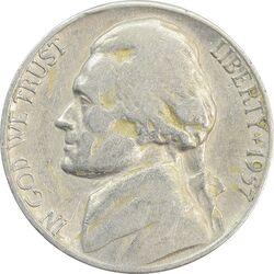 سکه 5 سنت 1957D جفرسون - VF25 - آمریکا