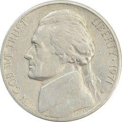 سکه 5 سنت 1971D جفرسون - VF30 - آمریکا