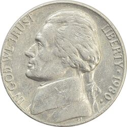 سکه 5 سنت 1980 جفرسون - EF40 - آمریکا