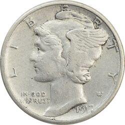 سکه 1 دایم 1917S مرکوری - EF40 - آمریکا