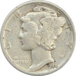 سکه 1 دایم 1944D مرکوری - EF45 - آمریکا