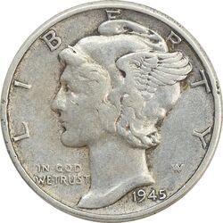 سکه 1 دایم 1945 مرکوری - VF35 - آمریکا