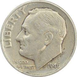 سکه 1 دایم 1946 روزولت - EF40 - آمریکا
