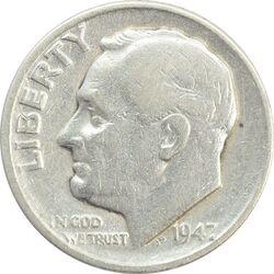 سکه 1 دایم 1947D روزولت - VF30 - آمریکا