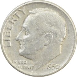 سکه 1 دایم 1950D روزولت - VF30 - آمریکا