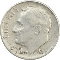 سکه 1 دایم 1957D روزولت - VF35 - آمریکا
