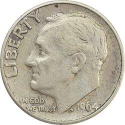 سکه 1 دایم 1964D روزولت - EF40 - آمریکا
