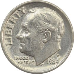سکه 1 دایم 1984P روزولت - MS63 - آمریکا