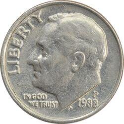 سکه 1 دایم 1988P روزولت - AU - آمریکا