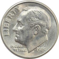 سکه 1 دایم 1989D روزولت - MS64 - آمریکا
