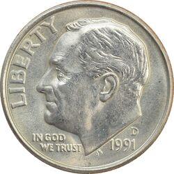 سکه 1 دایم 1991D روزولت - MS64 - آمریکا