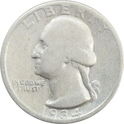 سکه کوارتر دلار 1934 واشنگتن - VF20 - آمریکا