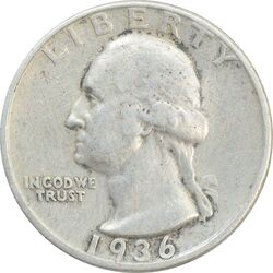 سکه کوارتر دلار 1936S واشنگتن - VF30 - آمریکا