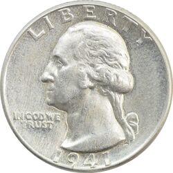 سکه کوارتر دلار 1941 واشنگتن - AU50 - آمریکا