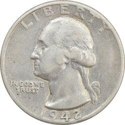 سکه کوارتر دلار 1942 واشنگتن - VF35 - آمریکا