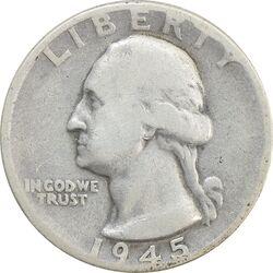 سکه کوارتر دلار 1945 واشنگتن - VF25 - آمریکا