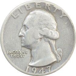 سکه کوارتر دلار 1947D واشنگتن - VF30 - آمریکا