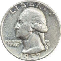 سکه کوارتر دلار 1957D واشنگتن - VF30 - آمریکا
