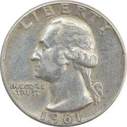 سکه کوارتر دلار 1961 واشنگتن - VF35 - آمریکا