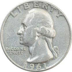 سکه کوارتر دلار 1961D واشنگتن - VF - آمریکا
