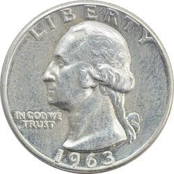 سکه کوارتر دلار 1963 واشنگتن - EF40 - آمریکا