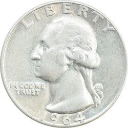 سکه کوارتر دلار 1964D واشنگتن - EF40 - آمریکا