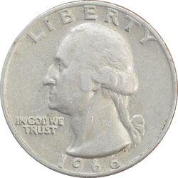 سکه کوارتر دلار 1966 واشنگتن - VF35 - آمریکا