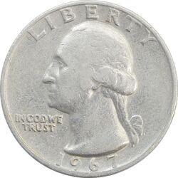 سکه کوارتر دلار 1967 واشنگتن - VF35 - آمریکا