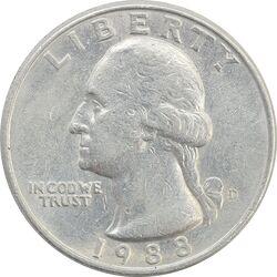 سکه کوارتر دلار 1988D واشنگتن - EF45 - آمریکا