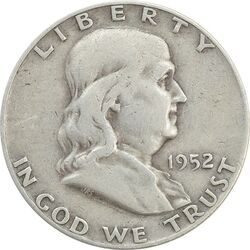 سکه نیم دلار 1952D فرانکلین - VF30 - آمریکا