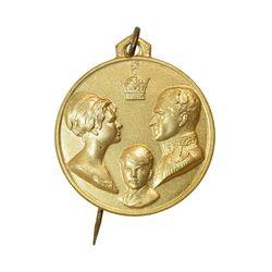 مدال آویزی تاجگذاری (سه رخ) - با سوزن فابریک - MS64 - محمد رضا شاه