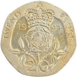 سکه 20 پنس 1993 الیزابت دوم - AU50 - انگلستان
