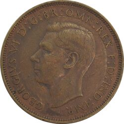 سکه 1 پنی 1945 جرج ششم - EF45 - انگلستان