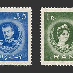 تمبر عروسی محمدرضا شاه و فرح دیبا 1339 - محمدرضا شاه