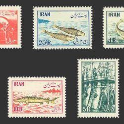 تمبر ملی شدن صنایع شیلات در ایران 1332 - محمدرضا شاه
