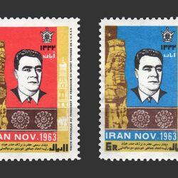 تمبر لئونید برژینف رئیس جمهور شوروی 1342 - محمدرضا شاه