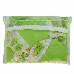 سرویس آشپزخانه مدل پروانه 10 پارچه رنگ سبز به همراه ساک