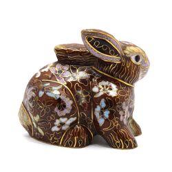 مجسمه میناکاری طرح خرگوش قهوه ای (با پایه) آنتیک