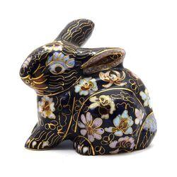 مجسمه میناکاری طرح خرگوش سرمه ای (با پایه) آنتیک