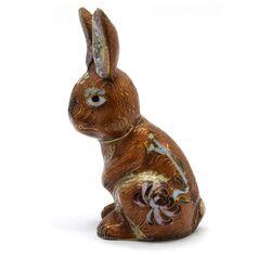 مجسمه میناکاری طرح خرگوش ایستاده قهوه ای (با پایه) آنتیک