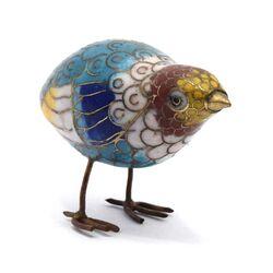 مجسمه میناکاری طرح پرنده آبی آنتیک