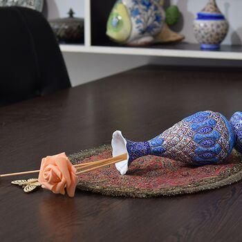 گلدان میناکاری طرح اسلیمی و ختایی - 20 سانتی در چیدمان