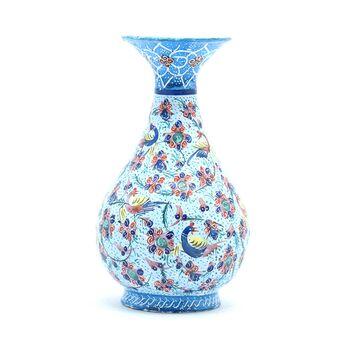 گلدان میناکاری طرح گل و مرغ - 13 سانتی