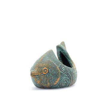 ظرف سفالی پتینه مدل ماهی دم کج