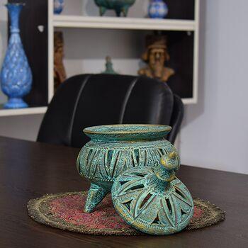 جا شکلاتی سفالی پتینه پایه دار مشبک Patina Pottery candy bowl