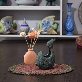 ظرف سفالی پتینه مدل ماهی در چیدمان