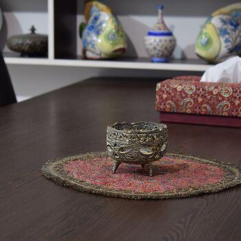 جاشمعی مشبک سفالی پتینه پایه دار قهوه ای در چیدمان