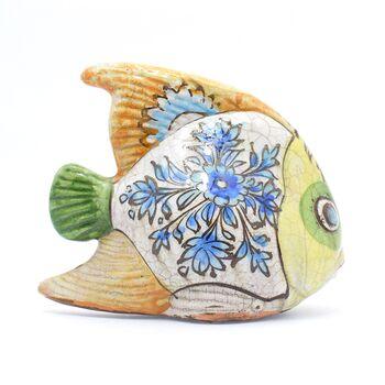 مجسمه ماهی سفالی لعابی