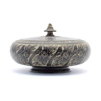 ظرف شکلات خوری خراطی-حکاکی سنگ با طرح پرنده