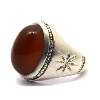انگشتر نقره مردانه عقیق - سایز 11/5